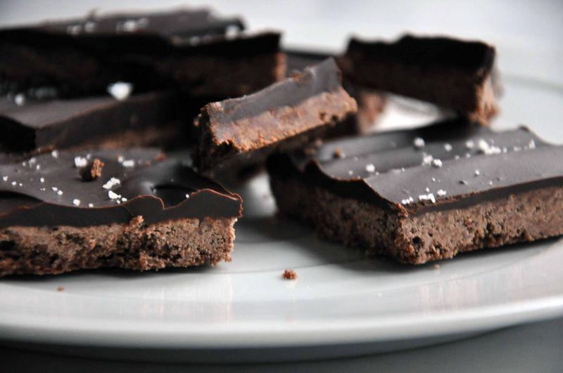 Chocolate shortbread ganache bars