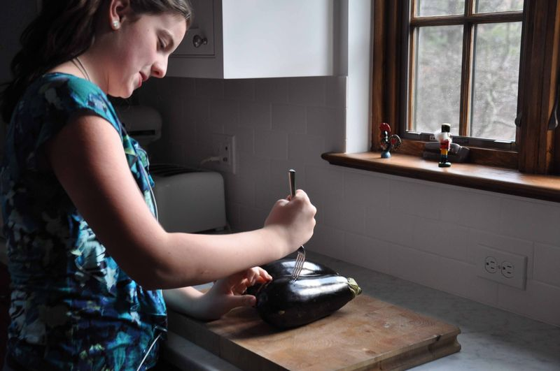 Prepping eggplant