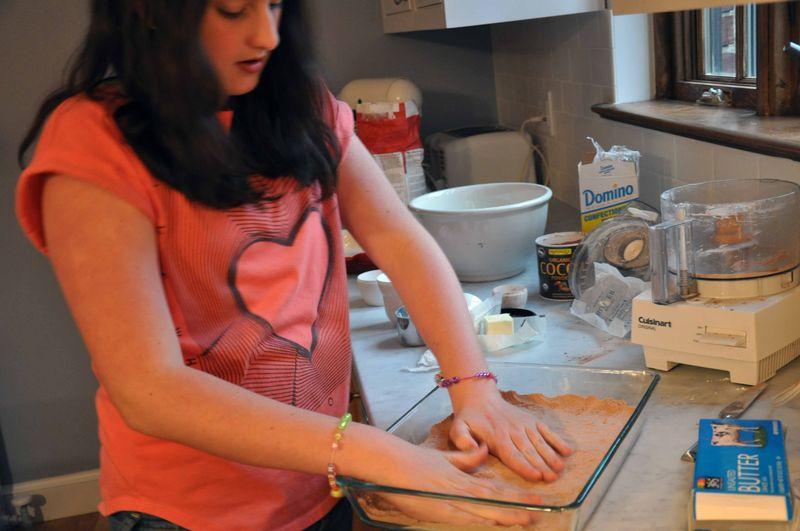 Patting the shortbread