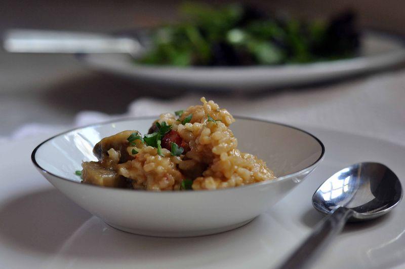 Eggplant and smoked mozzarella risotto