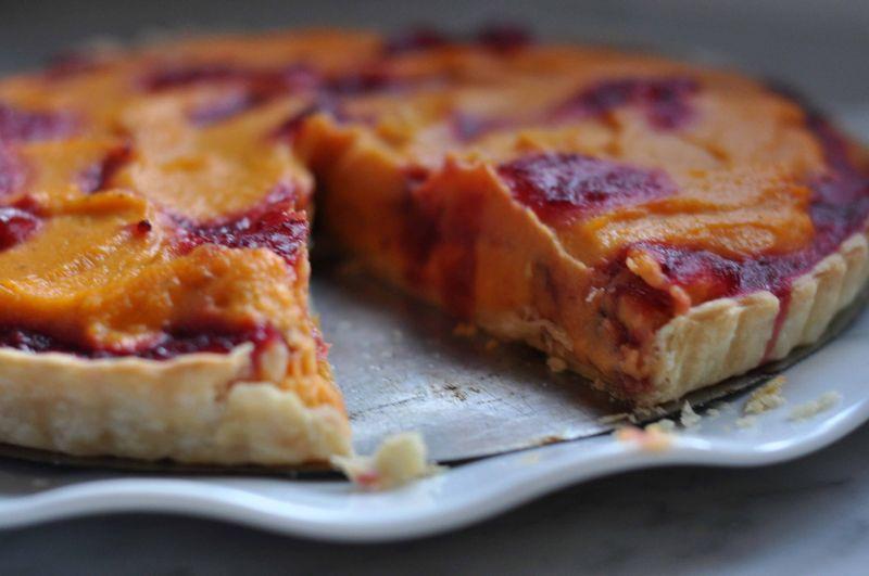 Sweet potato and cranberry tart