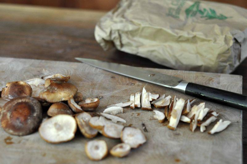Chopped shiitakes